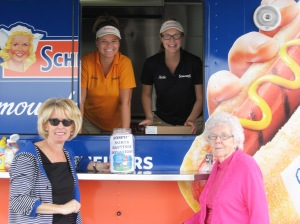 In four hours on July 26 Bancroft Foodland and Schneider's helped raise $859 for Hospice North Hastings by selling hotdogs from the Schneider's truck. Hospice Coordinator Heather Brough and volunteer Bev Rollins were at the BBQ and thrilled by the support.